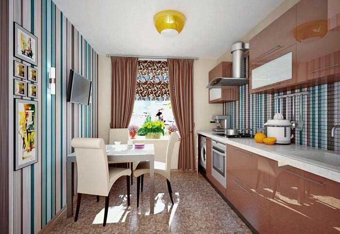 обои для кухни в интерьере фото комбинированные