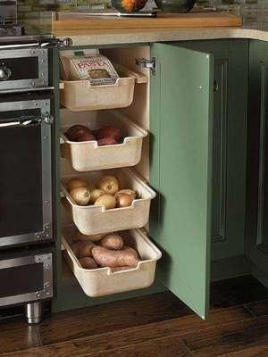 Идеи для хранения фруктов, овощей, круп на кухне