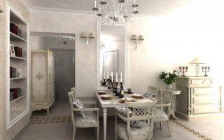 Дизайн Г-образной кухни-гостиной в стиле прованс