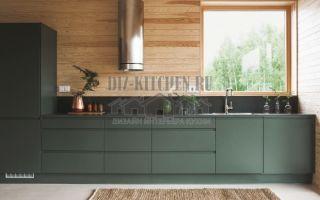 Прямая зеленая кухня без верхних фасадов в стиле лофт