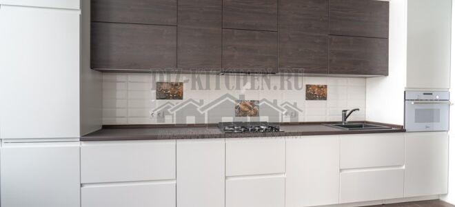 Минималистичная прямая кухня Модель-6 в помещении 12 м<sup>2</sup>
