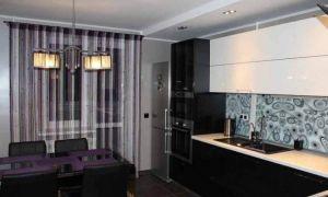 Дизайн угловой черно-белой кухни 14 кв.м