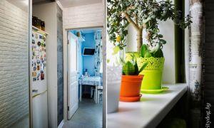 Голубые стены маленькой кухни в стиле «Прованс»