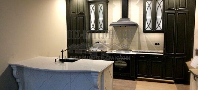 Классическая авторская черно-белая кухня площадью 14 кв. м