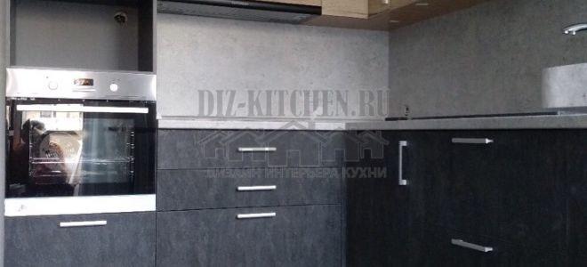 Современная кухня в стиле лофт 8 кв. м с барной стойкой