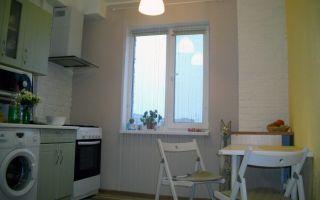 Кухня 9 кв.м. с газовой плитой и стиральной машинкой: простой ремонт