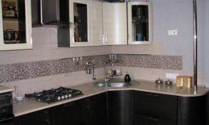 Дизайн угловой кухни 11 кв.м с 3d-эффектом в однокомнатной квартире