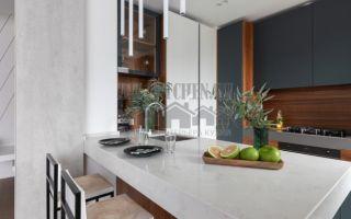 Современная кухня с островом, совмещенная с гостиной, площадью 28 кв. м