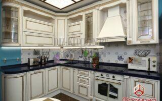 Классическая белая кухня с фасадами из массива березы на площади 13 м<sup>2</sup>