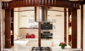 Белая глянцевая кухня из массива в стиле арт-деко