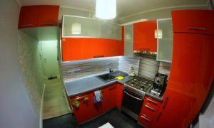 Кухня в хрущевке 6 м<sup>2</sup>, со стиральной машинкой