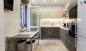 Стильная кухня 9 кв. м с выходом на балкон в однокомнатной квартире
