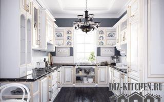 Стильная классическая белая кухня 16 кв. м. с черным паркетом