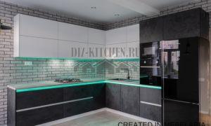 Кухня – гостиная 16 кв. м в стиле лофт с подсветкой