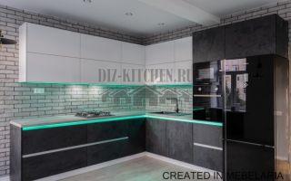 Кухня – гостиная 16 м<sup>2</sup>в стиле лофт с подсветкой
