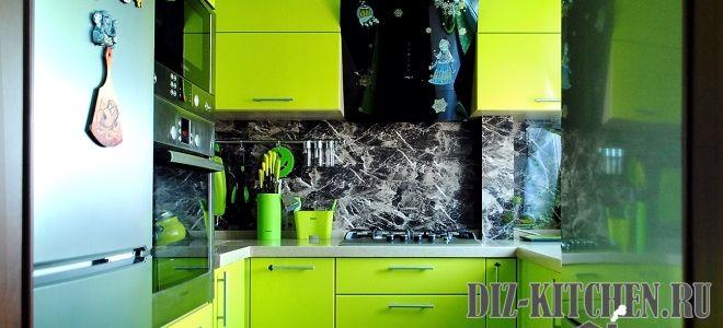 Стильная зеленая кухня 5,5 метров с посудомойкой