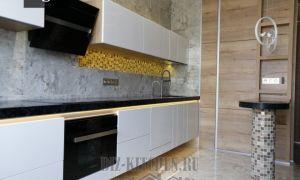 Современная подвесная кухня 30 м<sup>2</sup>, совмещенная с гостиной