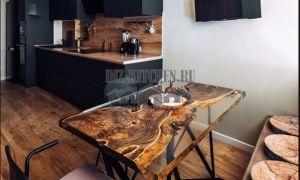 Кухня в стиле лофт с изделиями из слэба