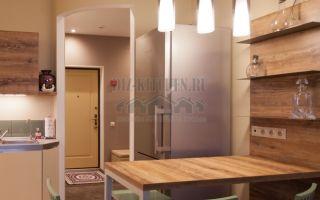 Современный дизайн интерьера кухни-студии 16 м<sup>2</sup>цвета дуб-ваниль