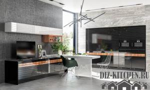 Современная кухня в стиле модерн в квартире-студии