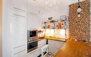Современная белая кухня площадью 16 кв.м