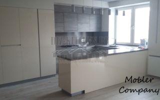 Кухня в студии 26 м<sup>2</sup> с глухими фасадами и барной стойкой