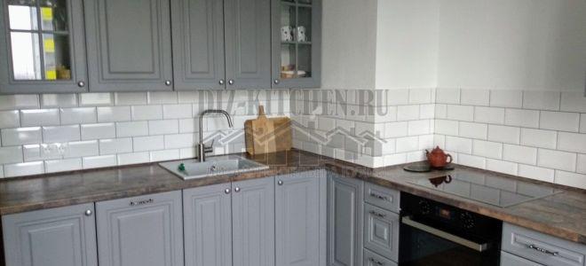 Угловая серая классическая кухня Луидор 9 м. кв.