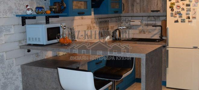 Современная кухня, совмещенная с гостиной, площадью 7 кв. м