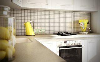 Дизайн-проект белой угловой кухни 9 кв.м со встроенным холодильником