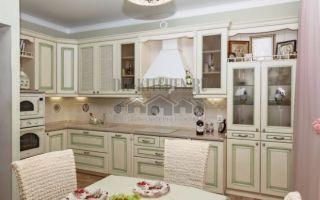 Белая классическая кухня с контрастной фрезеровкой в стиле прованс