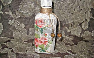 Бутылка в технике декупаж с ее состариванием своими руками