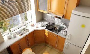 Дизайн кухни в хрущевке. Как разместить холодильник на 6 квадратных метрах? Фото