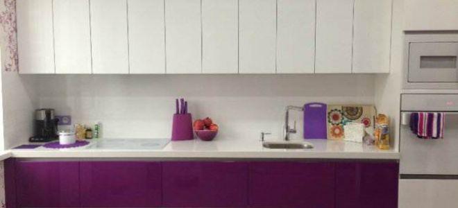 Дизайн прямой фиолетовой кухни 15 кв.м