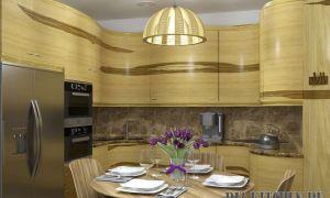 Дизайнерская кухня-гостиная с эффектом изогнутой линии