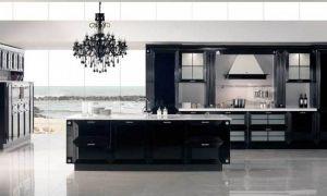 Дизайн черной кухни с островом 30 кв.м