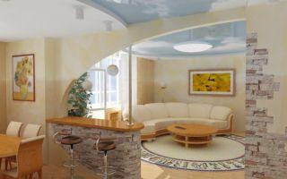 Дизайн кухни, совмещенной с гостиной. Фото идеи зонирования кухни и зала барной стойкой