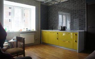 Дизайн оливковой кухни-гостиной 16 кв.м