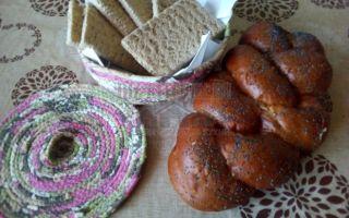 Хлебница-конфетница из лоскутков и шпагата