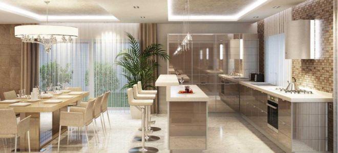 Дизайн кухни столовой гостиной: современные идеи, планировка, декор, нюансы объединения