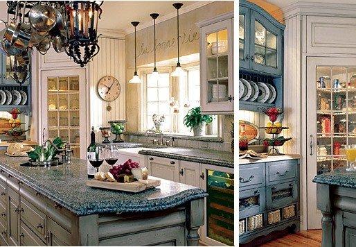 кухня в голубых тонах в стиле прованс