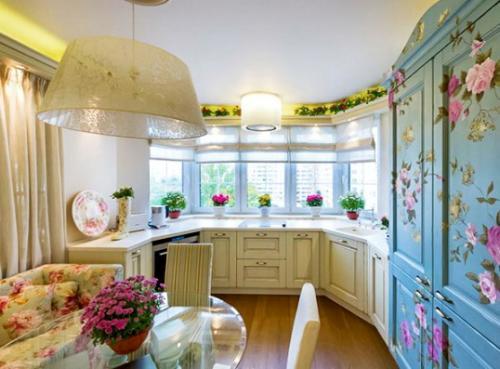 голубые тона на кухне