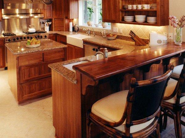 Кухня остров с барной стойкой
