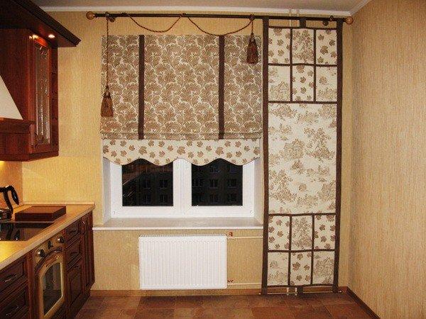 Плотные шторы на кухе