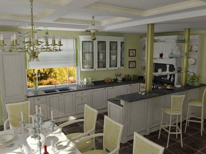 Светлая кухня с барной стойкой
