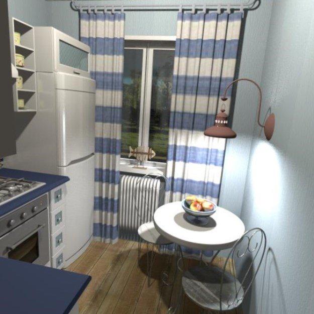 Дизайн кухни 6 кв.м с холодильником