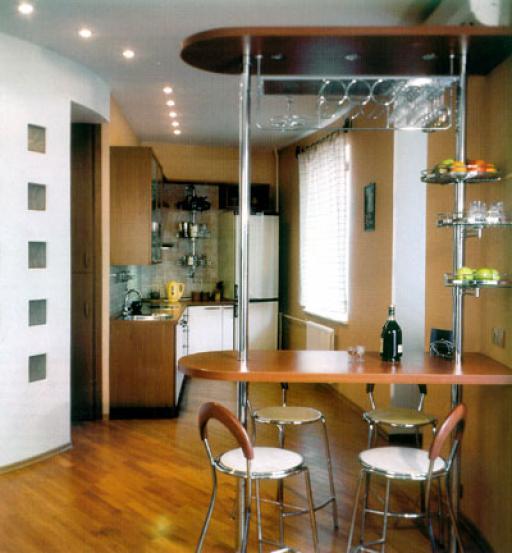 Кухня совмещенная с гостиной с барной стойкой дизайн фото