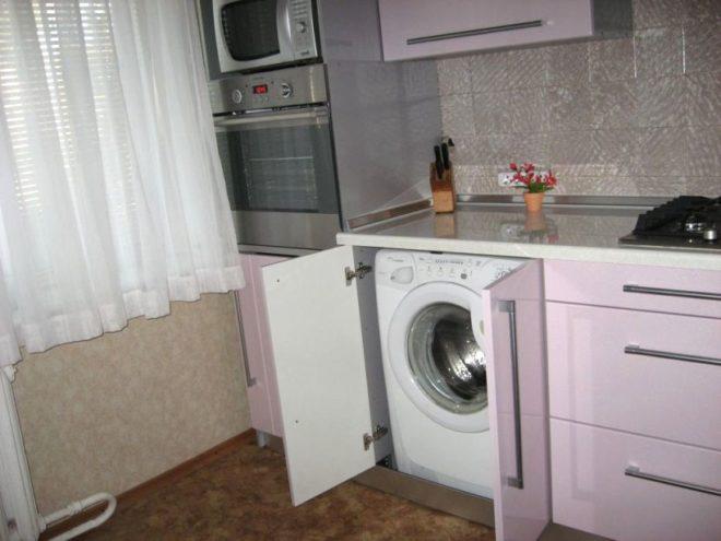 Дизайн кухни 6 кв.м. с стиральной машинкой