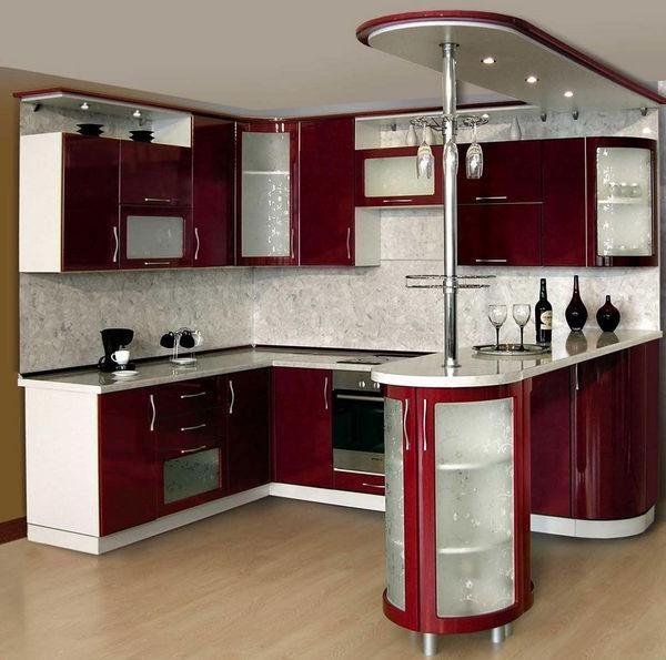 Дизайн стильной угловой кухни с барной стойкой