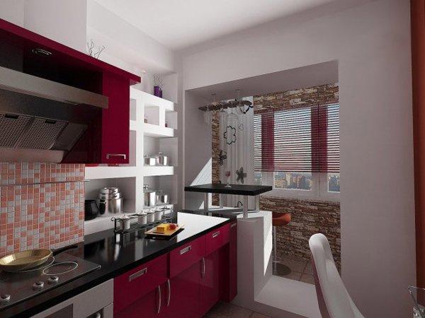 Дизайн кухни, совмещенной с балконом, лоджией. как объединит.