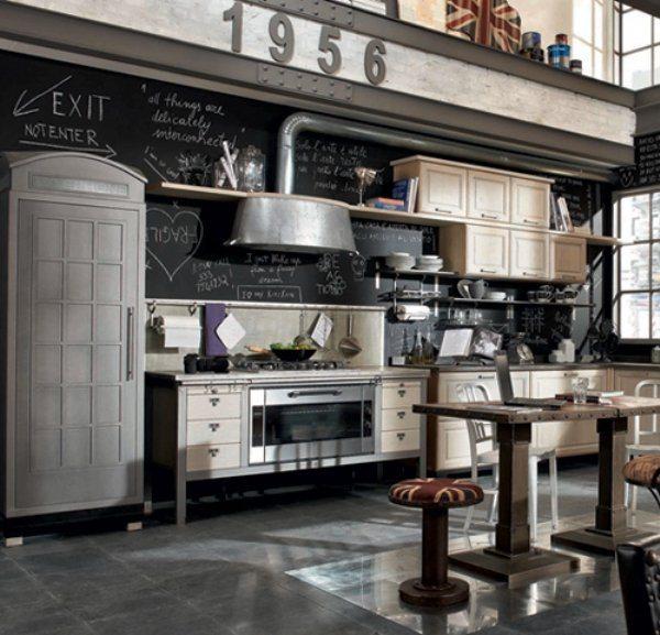 черно белая кухня в стиле ретро